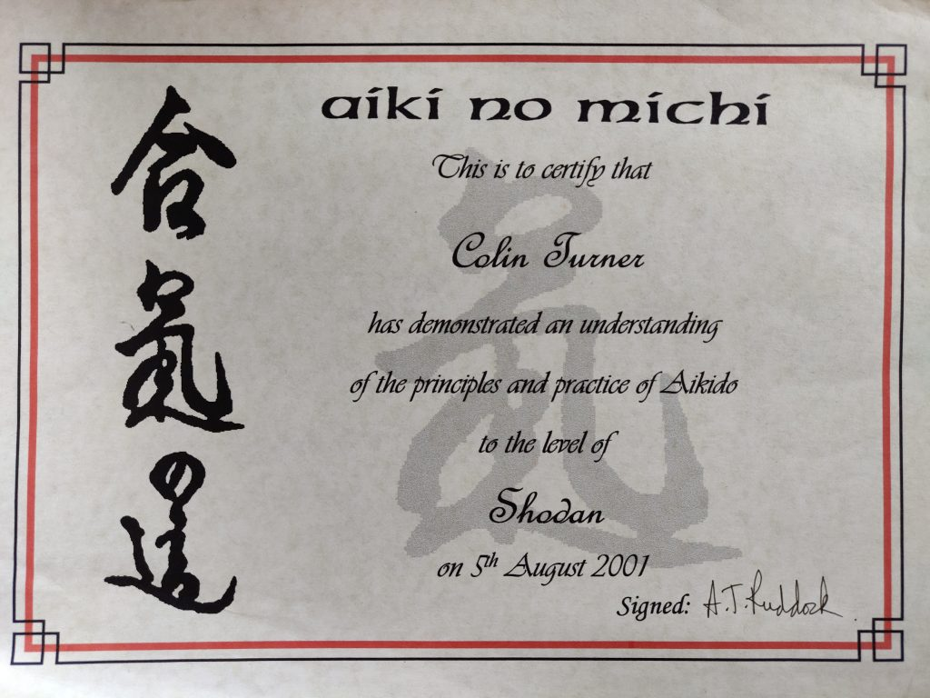 Shodan Certificate in Aikido